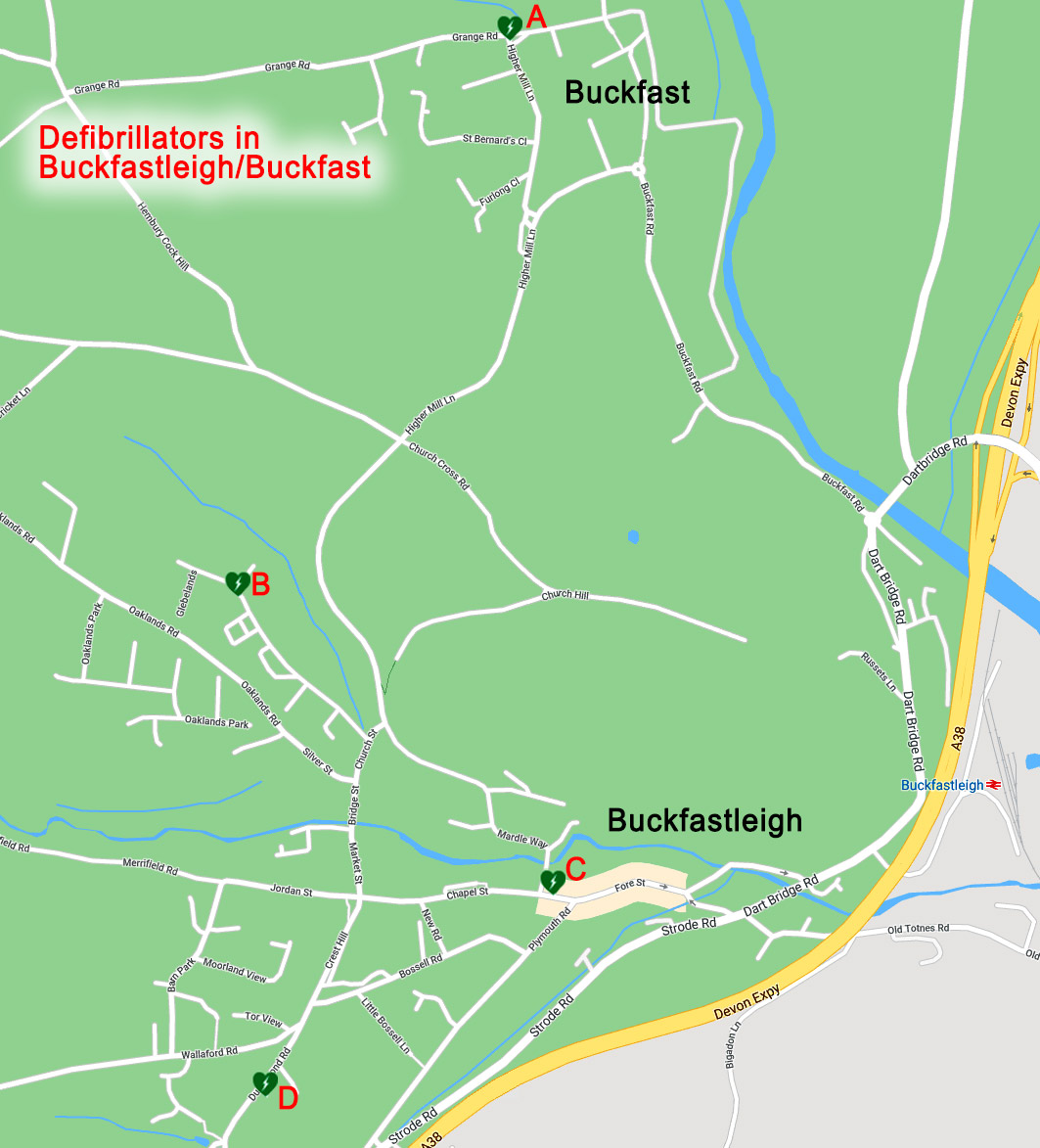 Map showing 4 defibrillator locations in Buckfastleigh and Buckfast