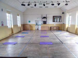 Main hall showing arrangement of yoga mats
